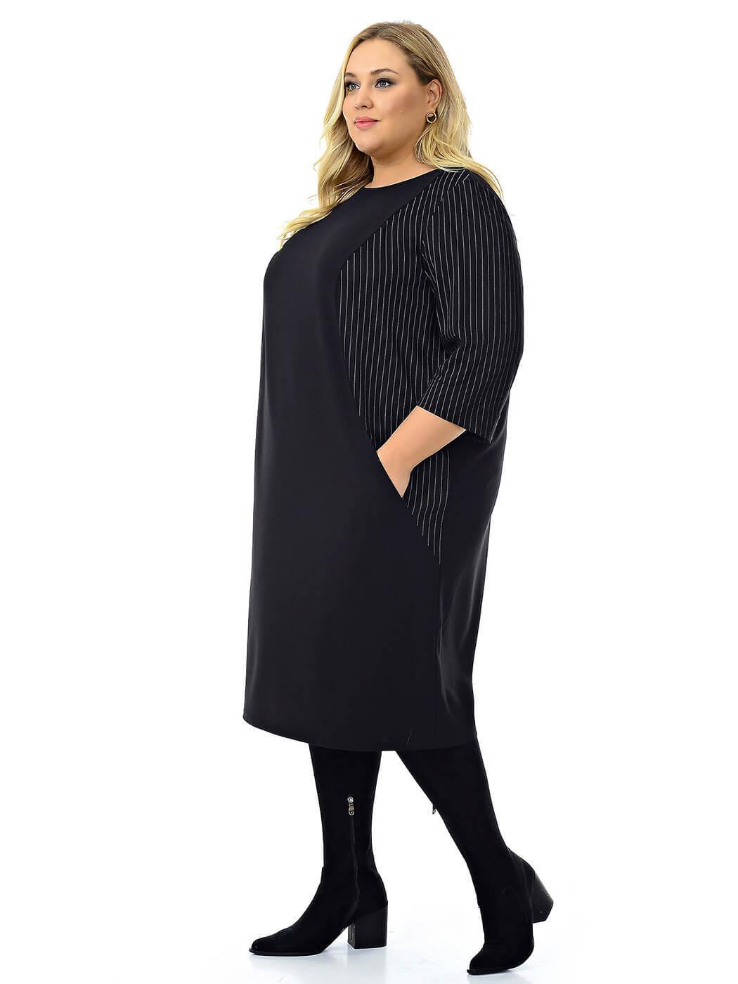 Чёрное комбинированное платье с рельефами