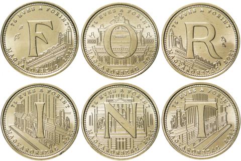 Набор из 6 монет 5 форинтов 2021 - 75 лет форинту Венгрия