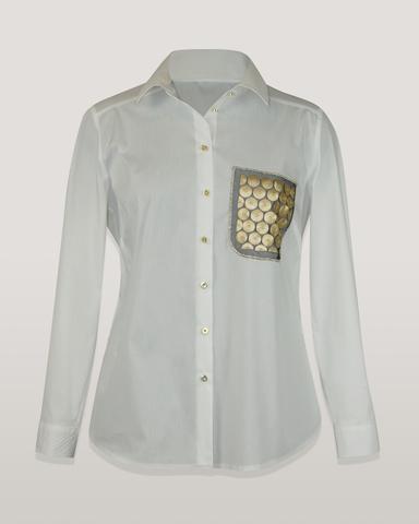 Блузка Kate 7677 рубашка имитация кармана монетки