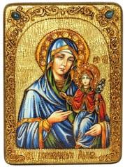 Инкрустированная икона Святая праведная Анна, мать Пресвятой Богородицы 29х21см на натуральном дереве в подарочной коробке