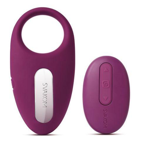 Фиолетовое эрекционное кольцо Winni Violet с вибрацией и пультом ДУ