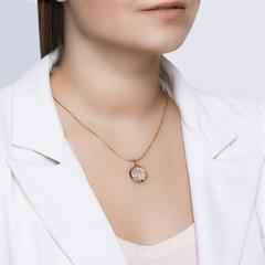 034926- Подвеска-медальон из золота с фианитами под стеклом