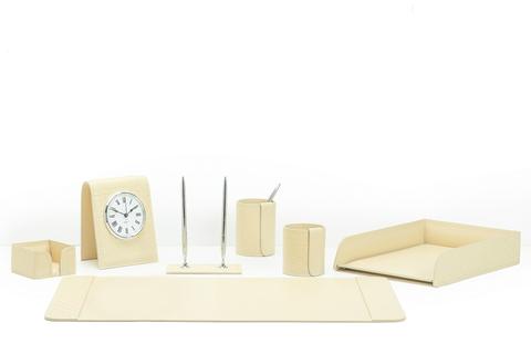 Набор офисный с часами  7 предметов из кожи цвет Treccia/слоновая кость