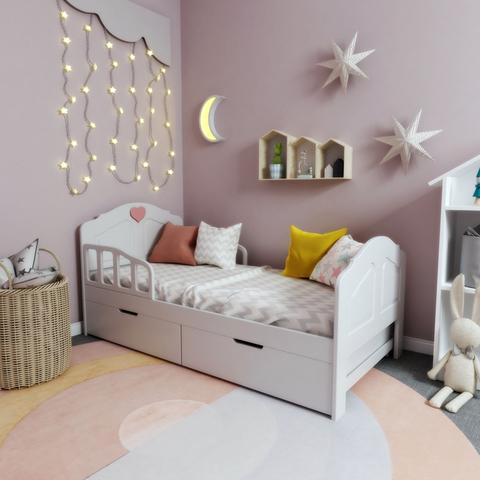 Кровать с ящиками Феалта-baby Мотив Белый