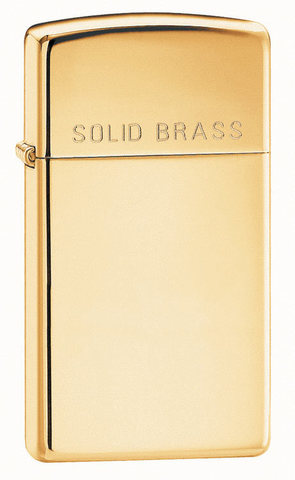 Зажигалка Zippo Slim High Polish Brass
