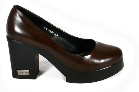 Коричневы туфли на платформе
