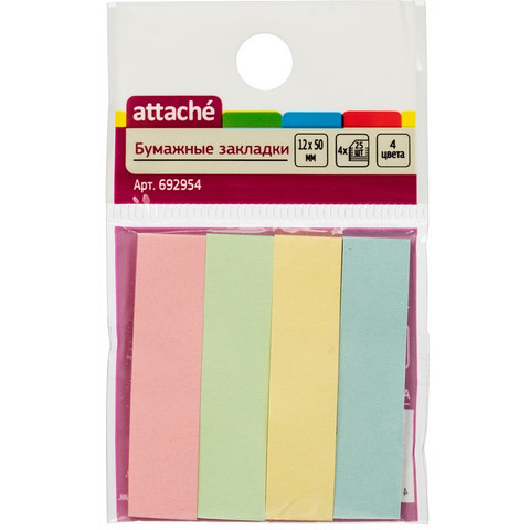 Клейкие закладки Attache бумажные 4 цвета по 25 листов 12х50 мм