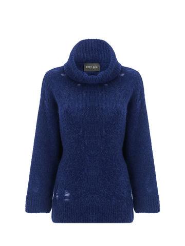 Женский свитер темно-синего цвета из шерсти - фото 1