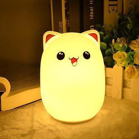 Силиконовый RGB светильник-ночник котик с пультом управления розовый