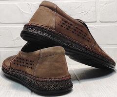 Перфорированные слипоны туфли кожаные мужские смарт кэжуал мужской Luciano Bellini 91737-S-307 Coffee.