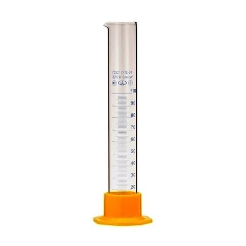Цилиндр мерный стеклянный на пластмассовом основании 100 миллилитров