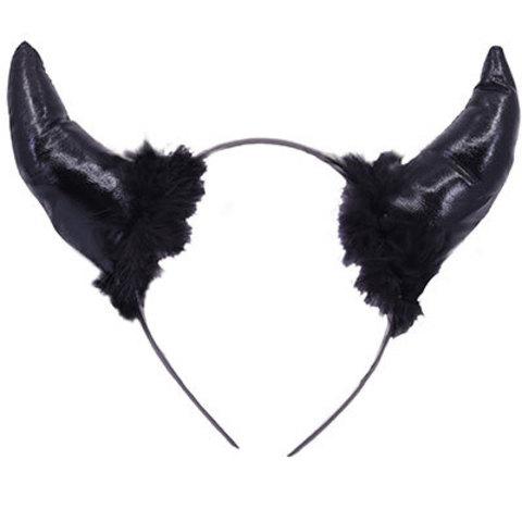 Ободок Рога черта черные, с перьями