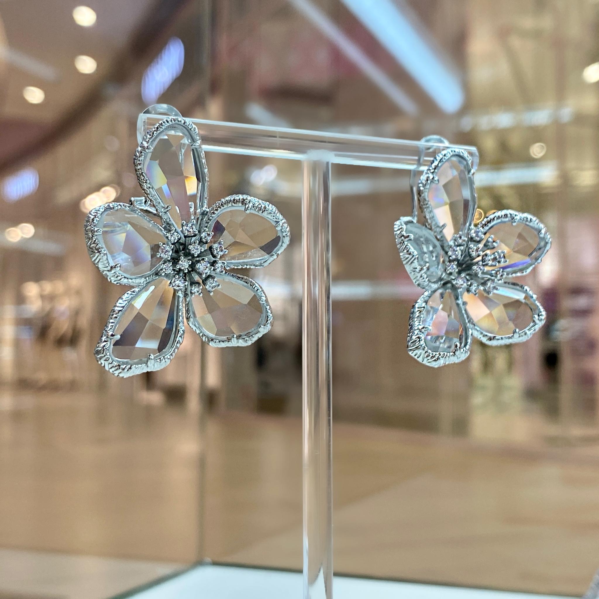 Серьги Цветок Хрустальный прозрачный