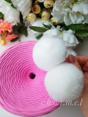 Помпон из натурального меха, Кролик, 5-6 см, цвет Белый, 2 штуки