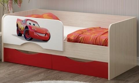 Детская кровать Юниор-12 МДФ Тачки, 80х160