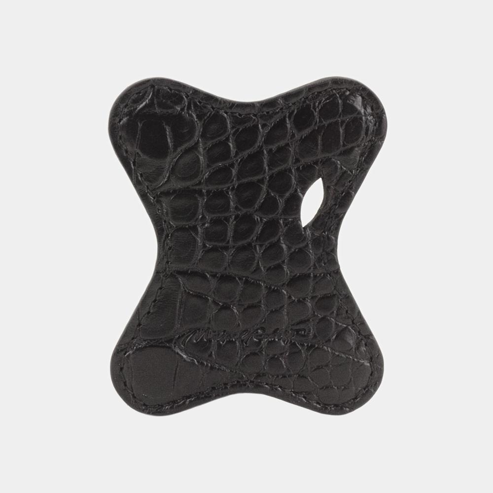 Чехол-держатель для наушников Papillon Bisness из натуральной кожи аллигатора, черного цвета