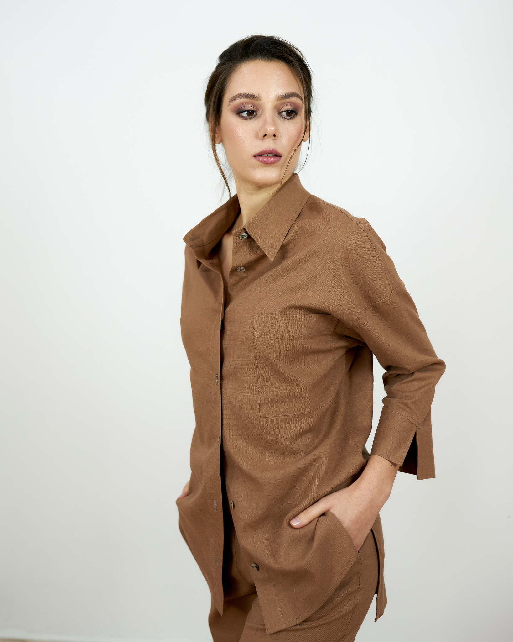 Льняная рубашка Шоколад