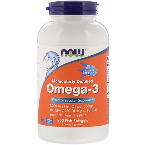 Омега-3, очищенная на молекулярном уровне, 200 капсул Now Foods