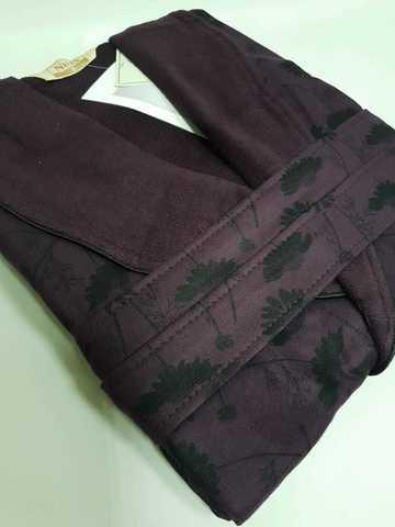 Халат женский велюровый Eleanora 4135 фиолетовый NUSA Турция