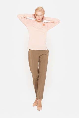 Фото бежевые брюки свободного кроя со стрелками и прорезными карманами - Брюки А494-335 (1)