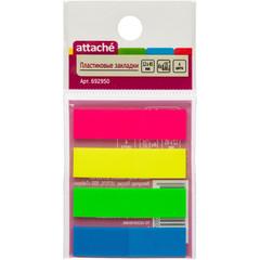 Клейкие закладки Attache пластиковые 4 цвета по 25 листов 12х45 мм