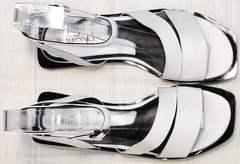 Модные женские сандалии из натуральной кожи Brocoli H1886-9165-S873 White.