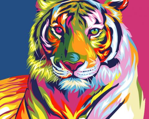 Алмазная Мозаика 30x40 Разноцветный тигр