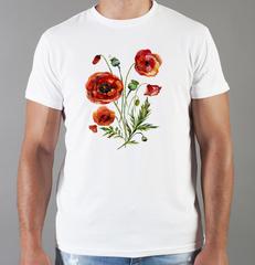 Футболка с принтом Цветы (Маки) белая 001
