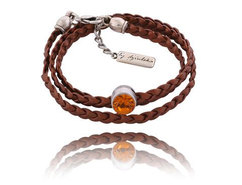 Кожаный браслет с кристаллами Swarovski
