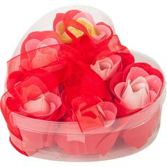 Мыльные цветы «Розы», в коробке в форме сердца, 6 шт