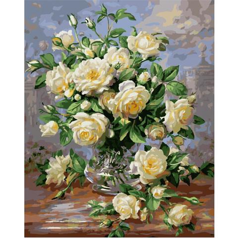 Алмазная Мозаика 30x40 Букет белых роз в прозрачной вазе