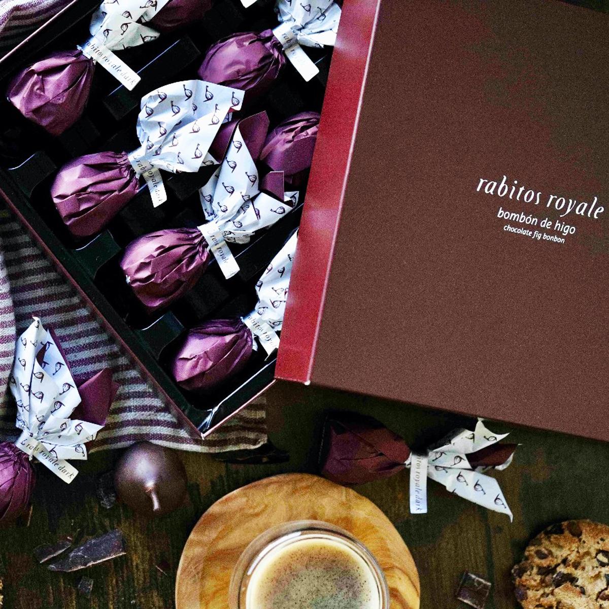 Конфеты Инжир в тёмном шоколаде с трюфельным кремом и бренди Rabitos 265 г 15 конфет