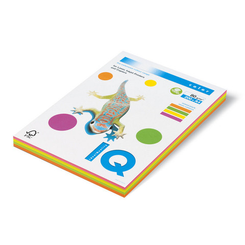 Бумага цветная для офисной техники IQ Color RB04 Neon 4 цвета по 50 листов (A4, 80 г/кв.м, 200 листов)