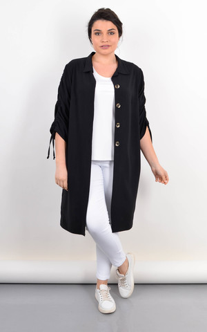 Челси. Кардиган-рубашка на лето женский plus size. Черный.
