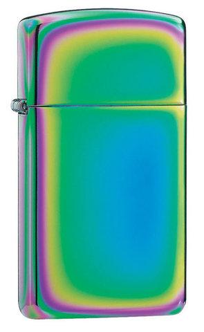 Зажигалка Zippo Slim Spectrum, латунь/сталь, разноцветная, глянцевая, 30x10x55 мм