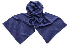 Шарф из шелка и шерсти синий полосатый 01451