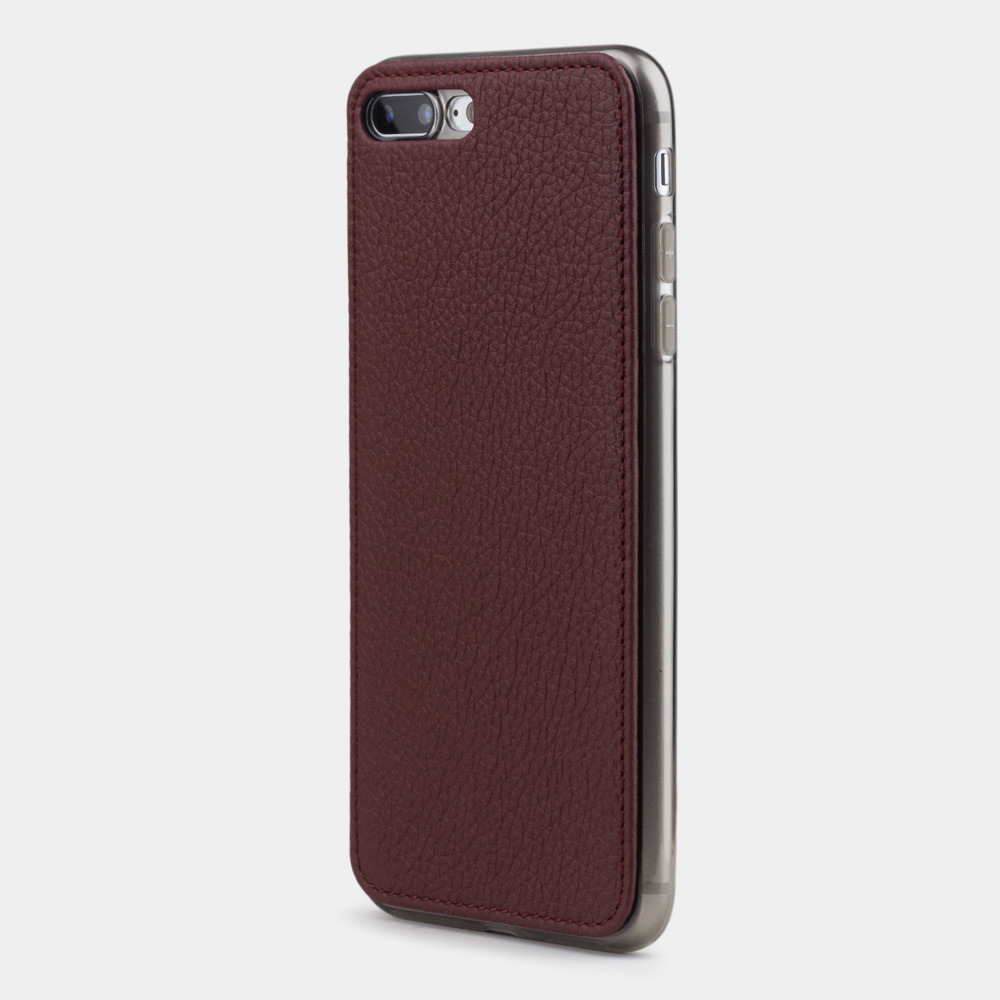Чехол-накладка для iPhone 8 Plus из натуральной кожи теленка, бордового цвета