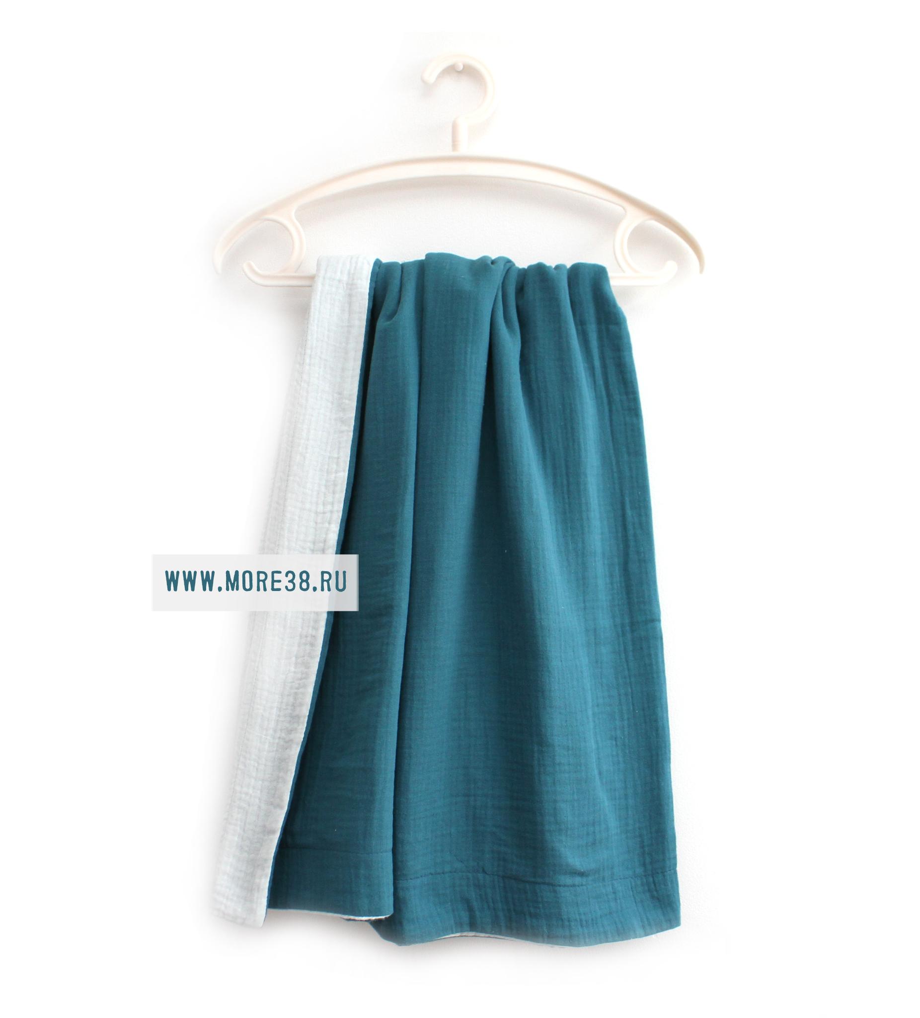 Муслиновые пледы-бледно-голубой+морская волна,4 слоя(1205+1376),100*130 см
