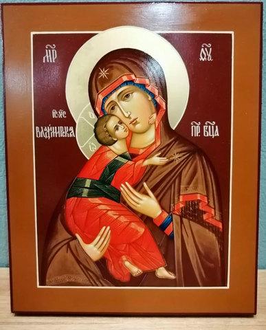 Рукописная икона Владимирская Пресвятая Богородица 21х17см