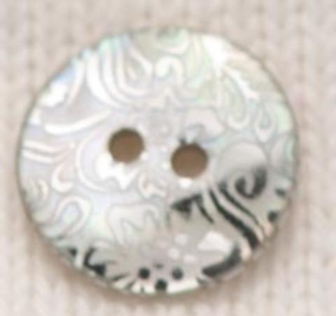 Пуговица серебристая, с орнаментом, перламутр, 15 мм