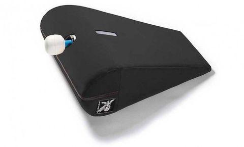 Чёрная малая вельветовая подушка для любви Liberator R-Axis Magic Wand с отверстием под массажёр