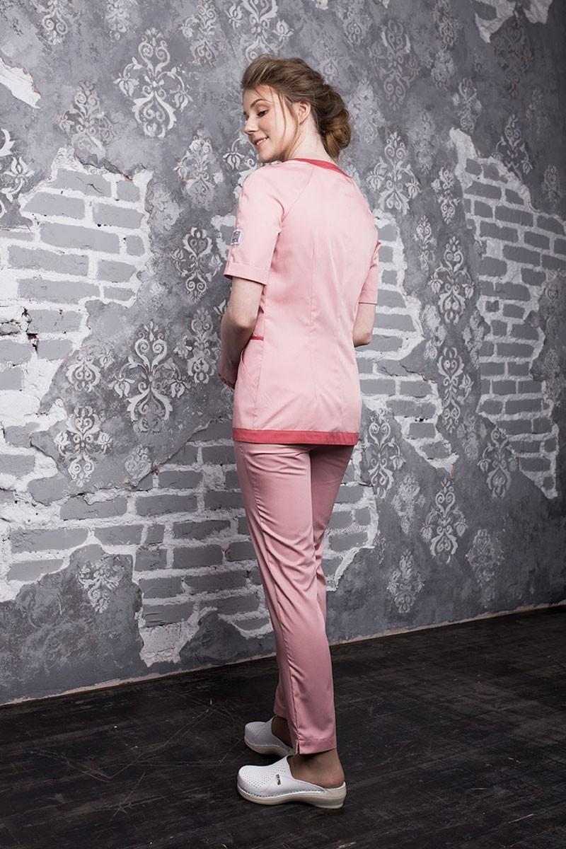Медицинский костюм женский розовый Бл-357+Б-122