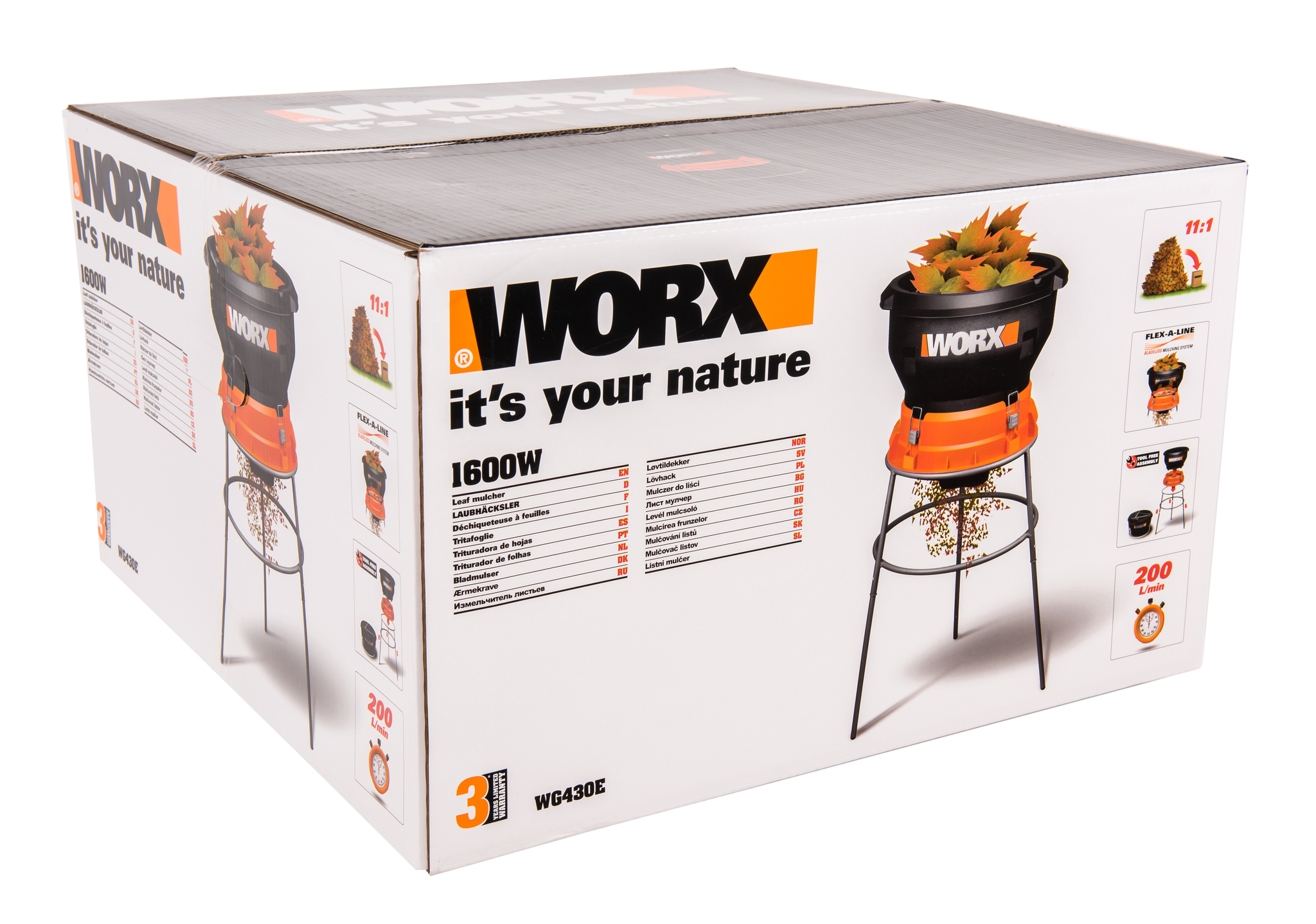 Измельчитель для листьев WORX WG430E, 1600 Вт