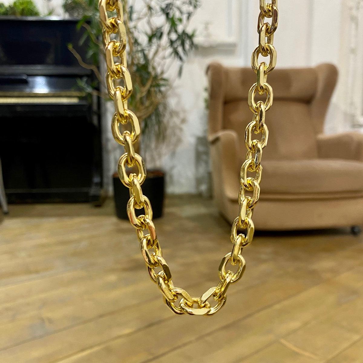 Колье-цепь якорного плетения (золотистый)