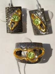 Сплит  (кольцо + серьги из серебра)