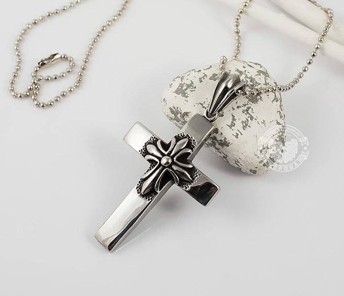 PM217 Массивная подвеска «Крест» из ювелирной стали фото 02