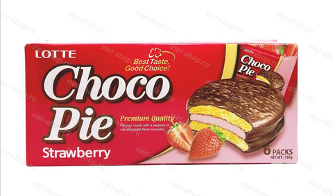 Пирожное LOTTE Choco Pie strawberry, Корея, 168 гр.