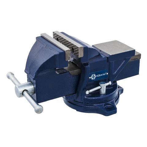 Тиски слесарные поворотные КОБАЛЬТ ширина губок 100 мм, захват 100 мм, 7 кг,  наковальня, коробка