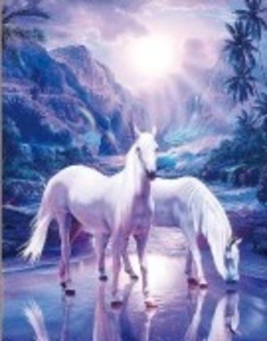 Алмазная Мозаика 40x50 Белые лошади на водопое (арт. HWSA5018)