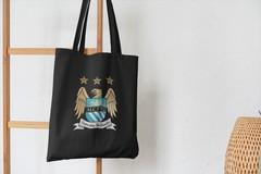 Сумка-шоппер с принтом FC Manchester City (ФК Манчестер Сити) черная 002